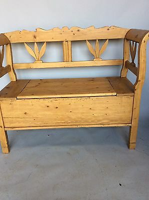 Old Antique Pine Monks Seat