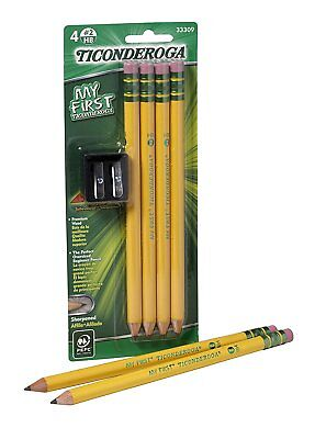 My First Ticonderoga Primary Size #2 Beginner Pencils, Pre-Sharpened, 4 Pencils