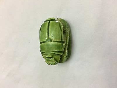 SCARAB EGYPTIAN PHARONIC ANCIENT Egypt Beetle Carved Stone Beads Green jewelry