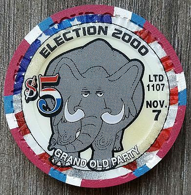 """FOUR QUEENS Las Vegas $5  ELECTION 2000  Limited to 1107 """"UNCIRCULATED"""""""