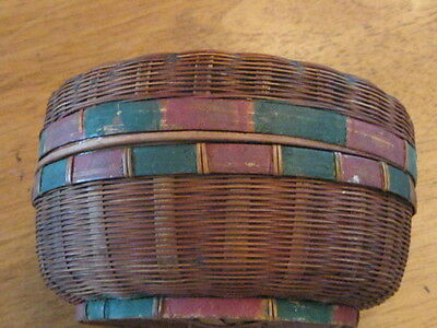 Small Antique Woven Sewing Basket with Lid