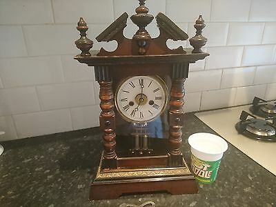 Antique Solid Oak Alarm Mantle Clock In Full Working Order - Superb Pendulum