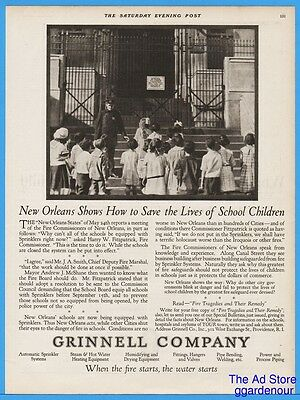 1922 Grinnell Company Providence RI School Fire Sprinklers New Orleans LA Pic Ad