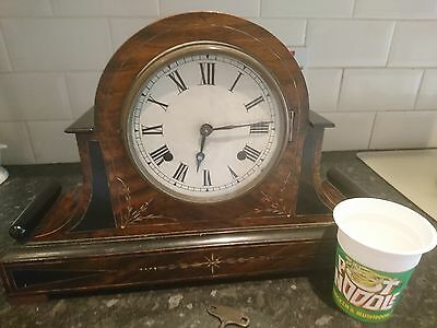 Large Antique Inlaid Rosewood Bell Striking Mantle Clock In Full Working Order