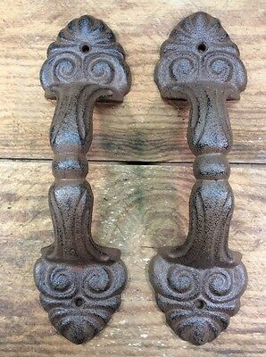 2 Handles Pulls Door Rustic cast iron antique style Barn Shed Gate 8-1/2x2-3/8