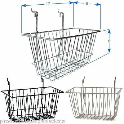 Case of 6 | Grid Gridwall Baskets 12 x 6 x 6 | BLACK WHITE or CHROME