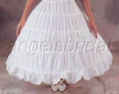 Cotton 4-Hoop Bridal Wedding Renaissance Civil War Costume Petticoat Skirt Slip