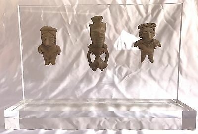 Magnificent 3 Piece Collection Of Pre Columbian Figures Mounted On Lucite Stand