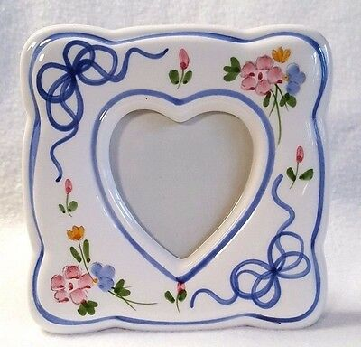 Vintage Picture Frame Floral Heart Ribbon Pink Blue French Cottage Shabby 5.5""