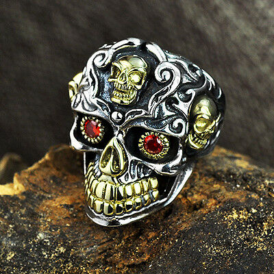 Genuine Men's Solid 925 Sterling Thai Silver Ring Skull Garnet Open Size 8 to 14