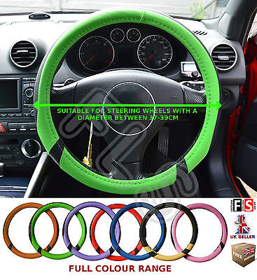 UNIVERSAL BLACK & GREEN 37-39CM STEERING WHEEL COVER FAUX LEATHER–Fiat 1