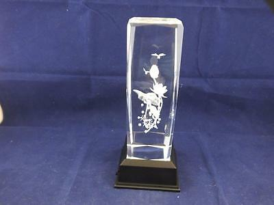 Tall Solid Glass Crystal Laser Block and White Light Box Frog and Dragonflies.