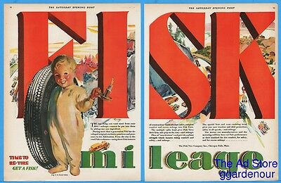 1929 Fisk Tires Smiling Pajama Boy With Candle Automobile Landscape COLOR Ad