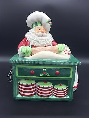 New In Box Fitz & Floyd Santa's Kitchen Christmas Holiday Cookie Jar