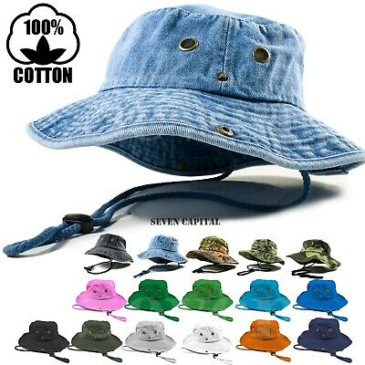 90fd79b3 DECKY BUCKET FISHERMEN Boonie Hats Caps Washed Cotton Twill Fitted ...