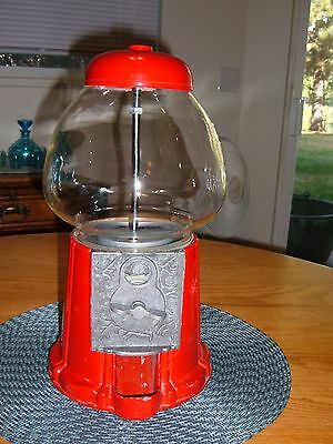Olde Tyme Reproductions Classic Red Cast Iron/Glass Gumball Machine WITH KEY!