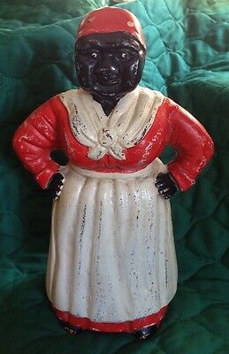 "Vintage Mammy Aunt Jemima Cast Iron Large 11"" Bank / Door Stop Hubley? 14 Lbs!"