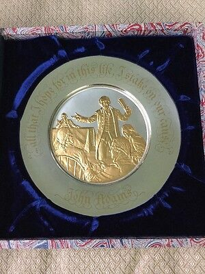 NOS Sterling Silver And Gold Bicentennial Plate By The Franklin Mint 7.6 Ozt