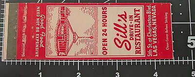 ~ Old Las Vegas Matchbook Cover ~ Sill's Drive-In Restaurant ~ Mileage Chart ~