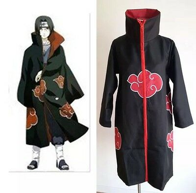 Naruto Akatsuki Itachi Uchiha Cosplay Costume Cloak Large L Size US Seller