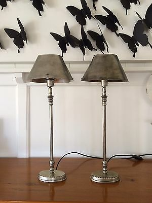 Designer French Industrial Style Aged Metal Lamp