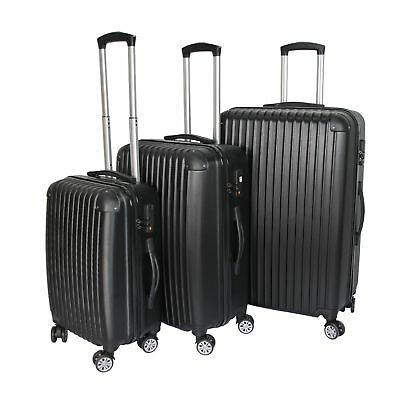 Milano ABS Luxury Shockproof Luggage 3pc Set Black - SYD STOCK - FREE DELIVERY