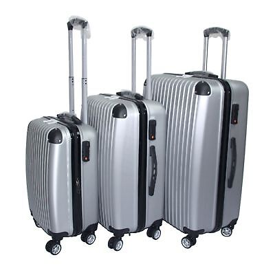 Milano ABS Luxury Shockproof Luggage 3pc Set Silver - SYD STOCK - FREE DELIVERY
