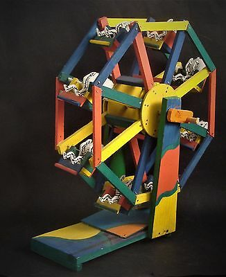 Vtg Mexican Day of the Dead Handcrafted Wood Ferris Wheel Folk Art Sculpture