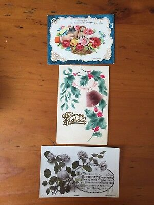 3 Antique Postcards From 1900's Happy Birthday Theme Old Ink Inscriptions