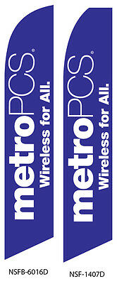 TWO MetroPCS Wireless for All (blue) Swooper Feather Flag Sign