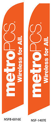 TWO MetroPCS Wireless for All (orange) Swooper Feather Flag Sign