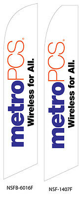 TWO MetroPCS Wireless for All (white) Swooper Feather Flag Sign