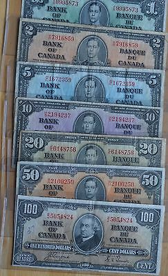 1937  Bank Of Canada Bills  -  $1  $2  $5  $10  $20  $50  $100