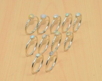 Wholesale 5Pc 925 Solid Sterling Silver Natural Ethiopian Opal Nice Ring Lot