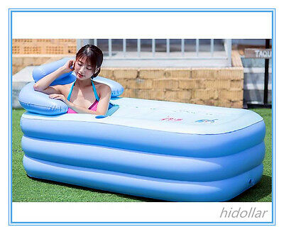 Inflatable Spa Bath Tub Bathtub With Zipper Cover Drink Mobile Phone Holder Pump