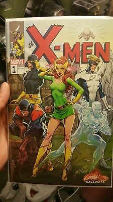 X-Men Blue #1 J Scott Campbell Exclusive Variant B Signed by w/ COA NM