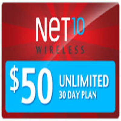 NET10 Wireless $50 Unlimited Monthly Plan Talk, Text, 8GB Data, Same Day Refill!