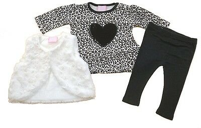 Chloe Louise Baby Girl Furry Gilet Three Piece Set