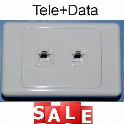 Dual Twin Telephone Phone Internet Data Outlet Socket Wall Plate Rj11 Rj45 Cat6