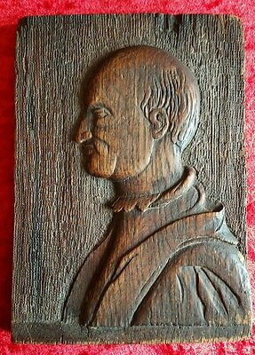 Antique 16th/17th Century Carved Oak Panel Bas Relief Portrait Of A Gentleman