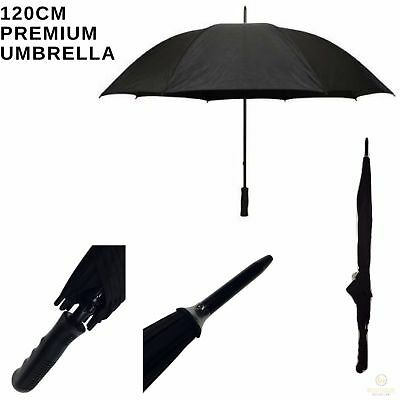 120cm Diameter PREMIUM BLACK UMBRELLA Rain Sun Sturdy Parasol Windproof New
