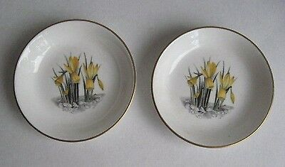 2 Royal Worcester Fine China Vintage Floral Pin, Trinket, Butter, Jam Dishes