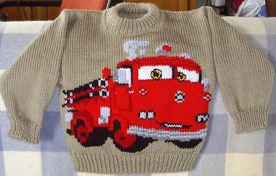 Fire Engine Truck  Size 3-4  New Handknitted 100% Acrylic