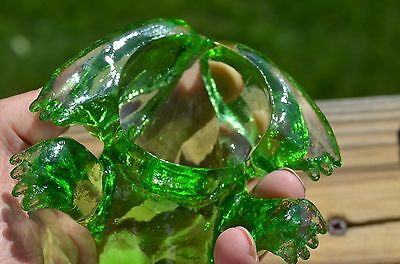 Solid Green Glass Frog Figurine Paperweight