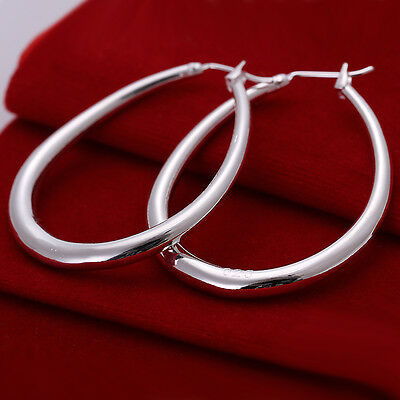 New Stunning 925 Sterling Silver Vintage 3 MM Hollow Oval Hoop Earring