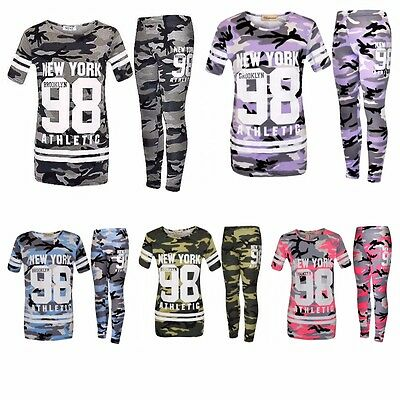 Kids Girls New York 98 Camouflage Print Top & Leggings Tracksuit Loungewear Suit