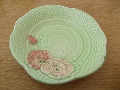 Vintage mid-century Deco Melba Ware green dish/ pink poppies.  H Wain & Sons.