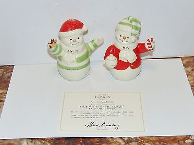 Lenox Sentiments of the Season salt and pepper shakers Snowman not used w/box