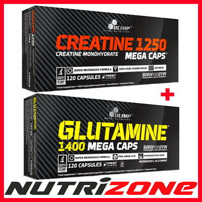 OLIMP Creatine Monohydrate 1250mg + OLIMP Glutamine 1400 Mega Caps Amino Acids