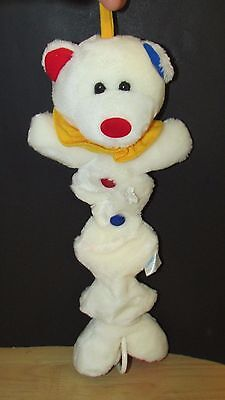Carters baby plush musical crib hanging pull toy white clown teddy bear red blue